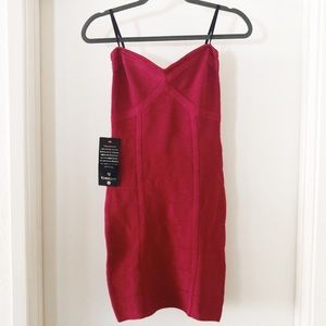 bebe | raspberry strapless bandage dress NWT